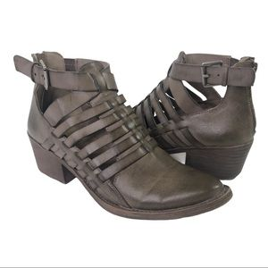 Volatile McKenna Taupe Cut Out Bootie Chunky Heel
